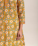 Block printed Yellow Indo Western Kurta