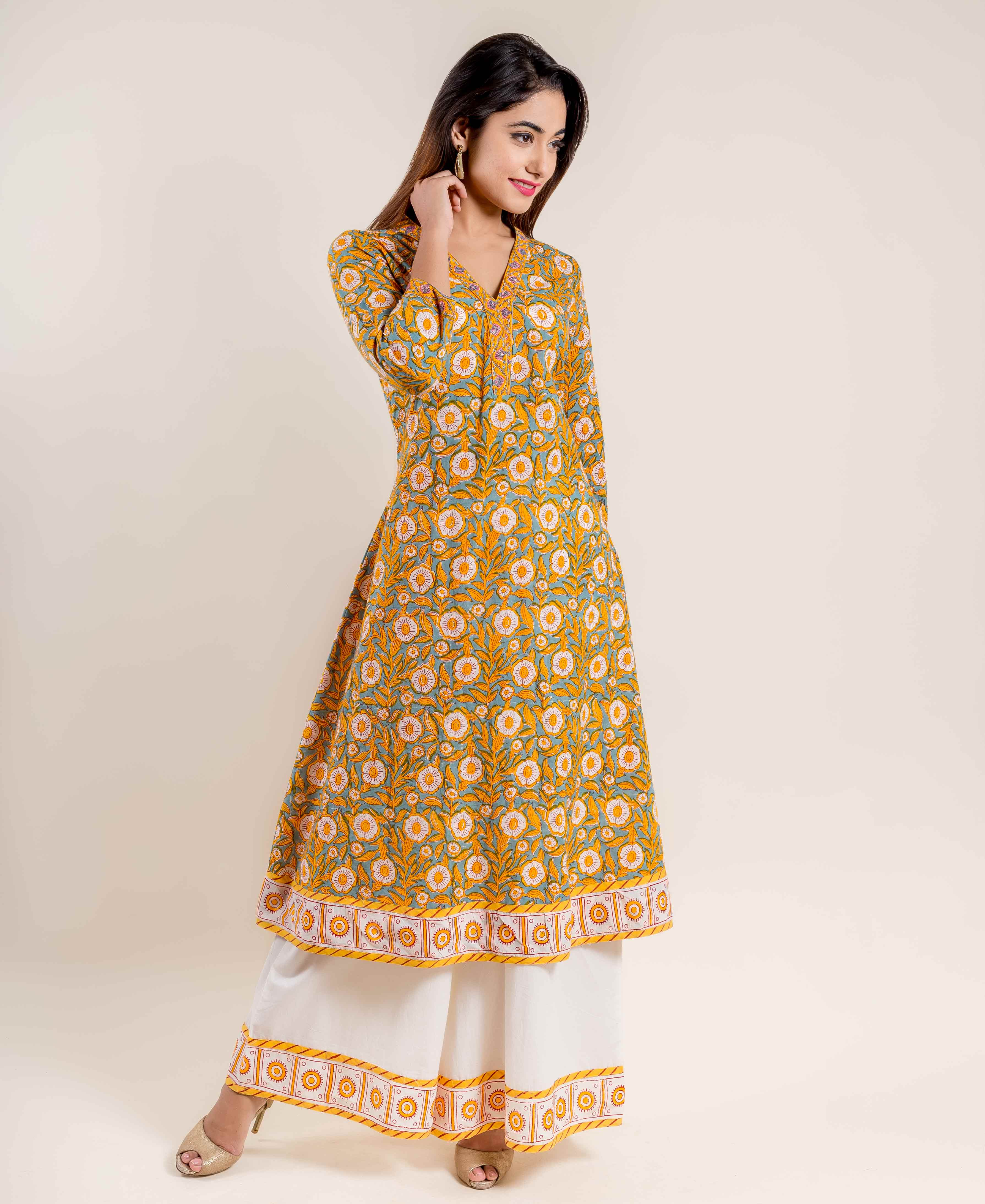 A Cut Yellow and White Cotton Hand Block Printed Kurta With Palazzo