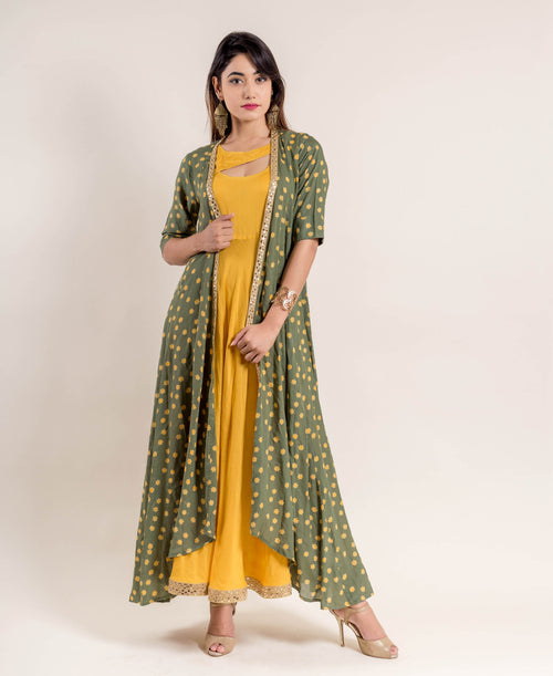 Green and Yellow Hand Block Printed Indo Western Jacket Dress
