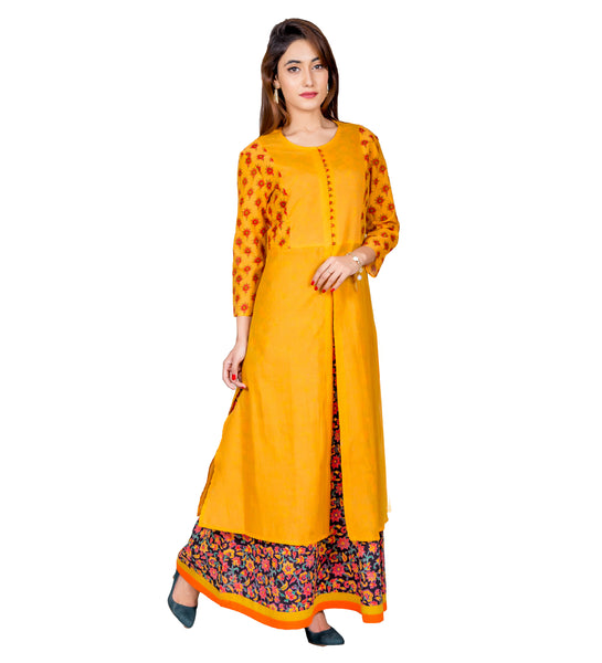 yellow indo western dress