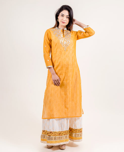 Yellow Hand Block Printed Floor Length Festive Chanderi Indo Wetern Dress