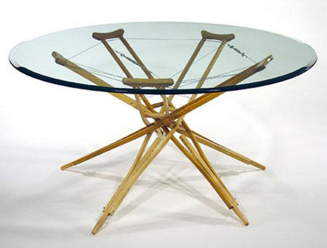 Repurposed crutch table - unexpected uses for trash