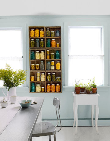 Repurposed Kitchen Shelving - Apple Crates for upcycled home decor