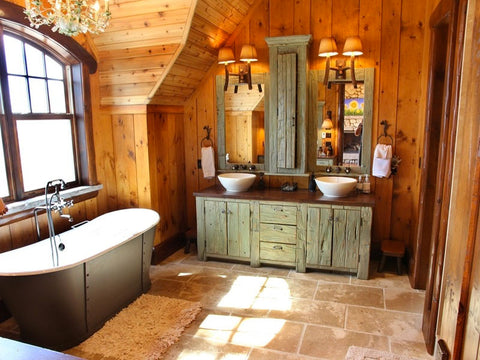 Rustic bathroom with weathered wood cabinet. DIY with Weathered Wood Finish by Tall Earth. Source: http://decorideascity.com/rustic-bathroom-ideas-for-small-space.html/country-rustic-bathroom-ideas