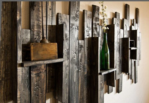 Rustic wall decor idea. DIY! Weathered Wood Finish can help you create this look for your home.