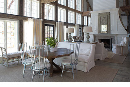 Rustic weathered wood beams. Source: http://colorindesign.net/2012/02/20/white-and-wonderful/
