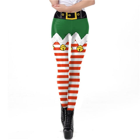 Stripe Tribal Leggings Women Christmas Festival Pants