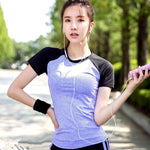 Patchwork Yoga top Gym Compression Women Sport T-shirts Dry Quick Running Short Sleeve Fitness Women's Tees tops