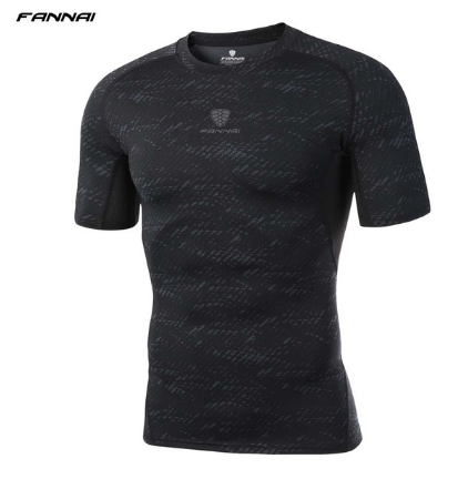 FANNAI  Summer Men Running T Shirts Gym Fitness Short Sleeve Loose  Workout Tops Quick Dry Training Jersey