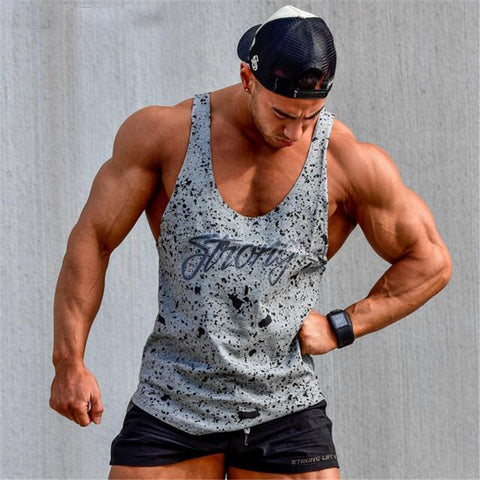 Tank Tops Sleeveless Vest TOP Undershirt casual fitness Mens casual print Bodybuilding Red gray black