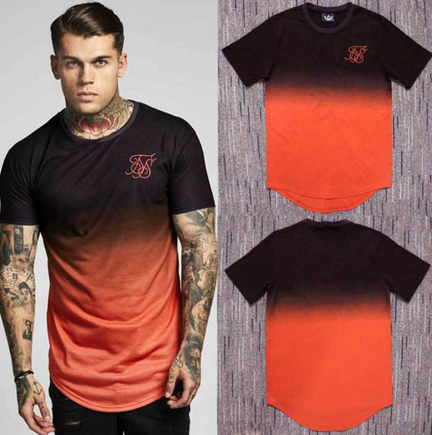 summer Cotton silk siksilk T shirt Gradient Printed T-shirts Short Sleeves Hip Hop T-shirt shirts Tops Men Longline tees With