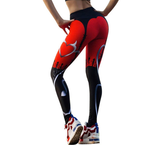 Sexy Heart Print Leggings Women Red Black Patchwork Sporting Pants Fashion Printed Women's Fitness Leggings