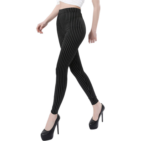 Vertical Stripes Slim Skinny Stretch Leggings