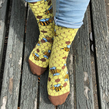 Load image into Gallery viewer, Bee Socks - Funny Yellow Socks For Women by Penguin socks