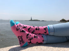 Load image into Gallery viewer, Black Cat Socks — Funny Pink Novelty Socks For Women by Penguin socks in New York