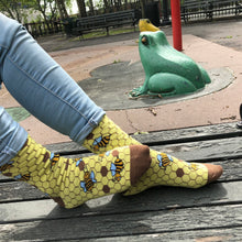 Load image into Gallery viewer, Bee Socks - Funny Yellow Socks For Women by Penguin socks - next to the frog