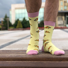 Load image into Gallery viewer, Italian Pizza Socks - Yellow Funny Socks For Men