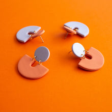 Load image into Gallery viewer, Lavender/Orange Semi Earrings