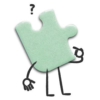 A mint green puzzle piece with cartoon arms and legs looking confused