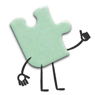 A mint green puzzle with cartoon arms and legs giving a thumbs up