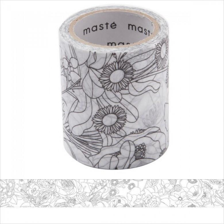 MASTÉ Washi-Tape Flower Coloring Dark Gray Masté