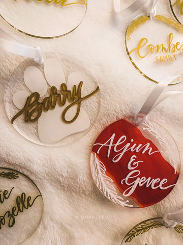 Personalized Flat Painted Christmas Ornaments