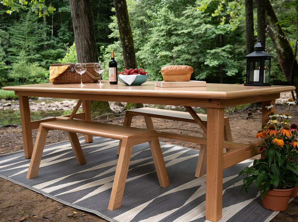 Handcrafted wooden folding farm tables made from Appalachian hardwoods.