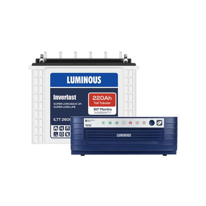 luminous Inverter  1kva 12v + 220ah Tubular inverter battery