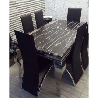Marble Dining Table With 6 Sitting Chairs (x6)