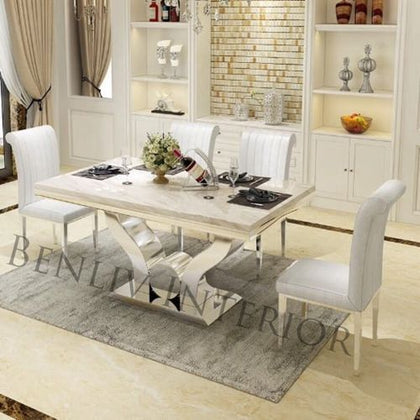 Marble Dining Table Set With 4 Sitting Chairs