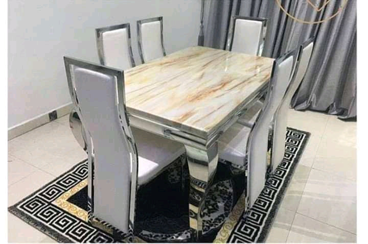 Marble Dining table with 6 chairs | EXC 11