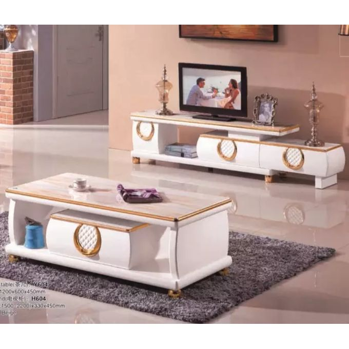 Modern Center Table And TV Shelve with Drawers
