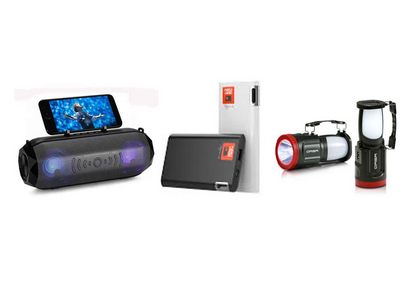 Power Bank, Portable Bluetooth Speaker & Rechargeable Torch Travel Package