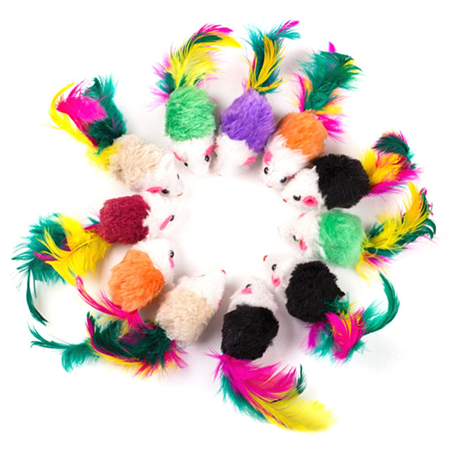 Colorful Feather Plush Mouse Toys for Pet Cats
