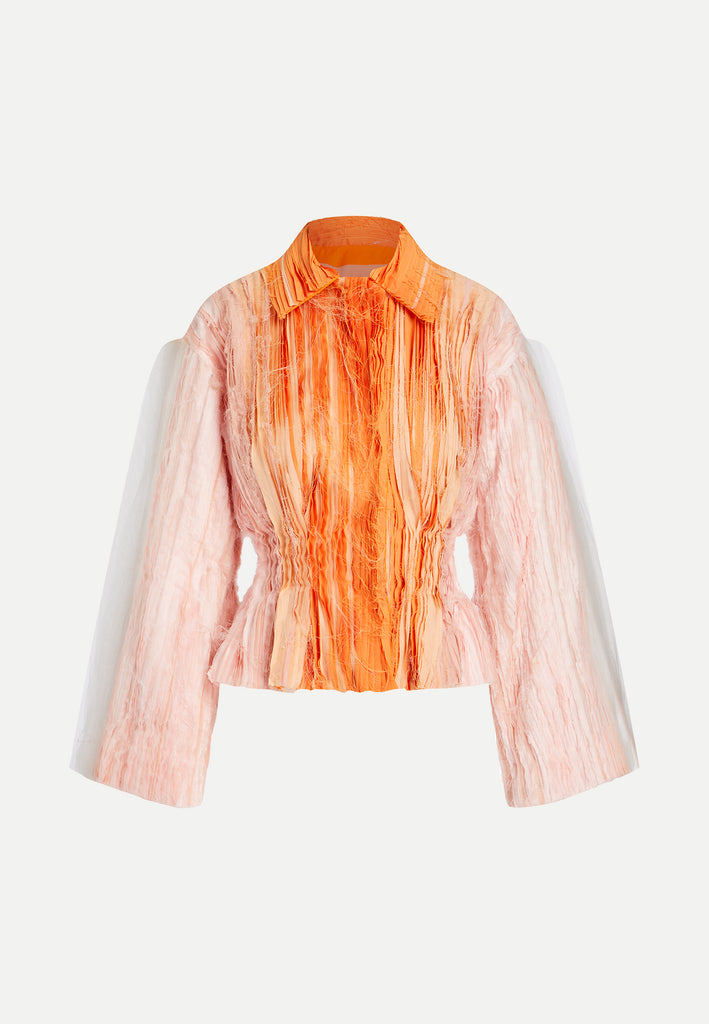 womenswear multi-layered peach rose white cropped jacket front