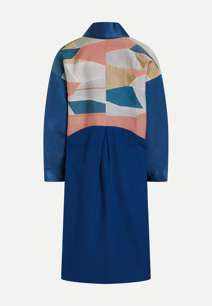 womenswear blue patchwork boro coat back