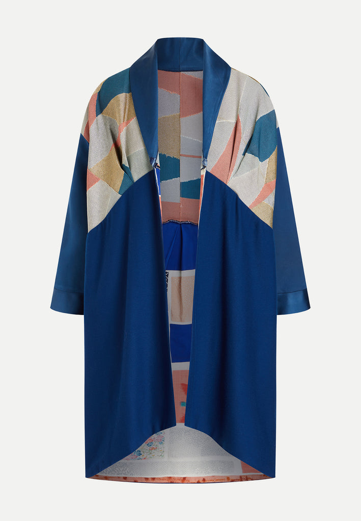 womenswear blue patchwork boro coat front