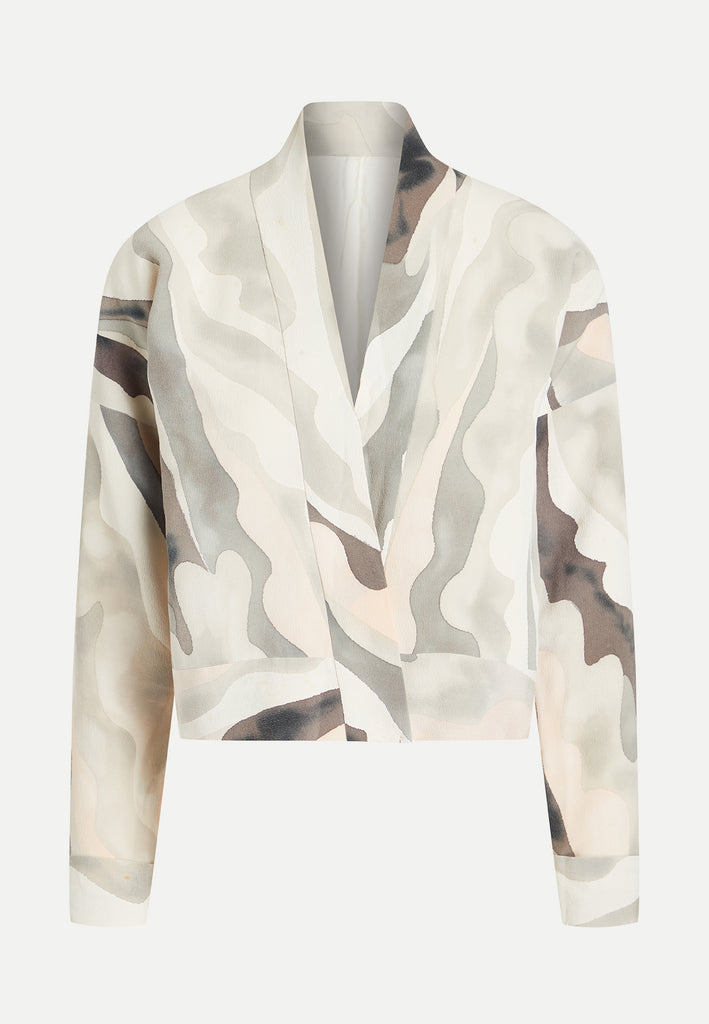womenswear grey wavy pattern on cropped kimono jacket front