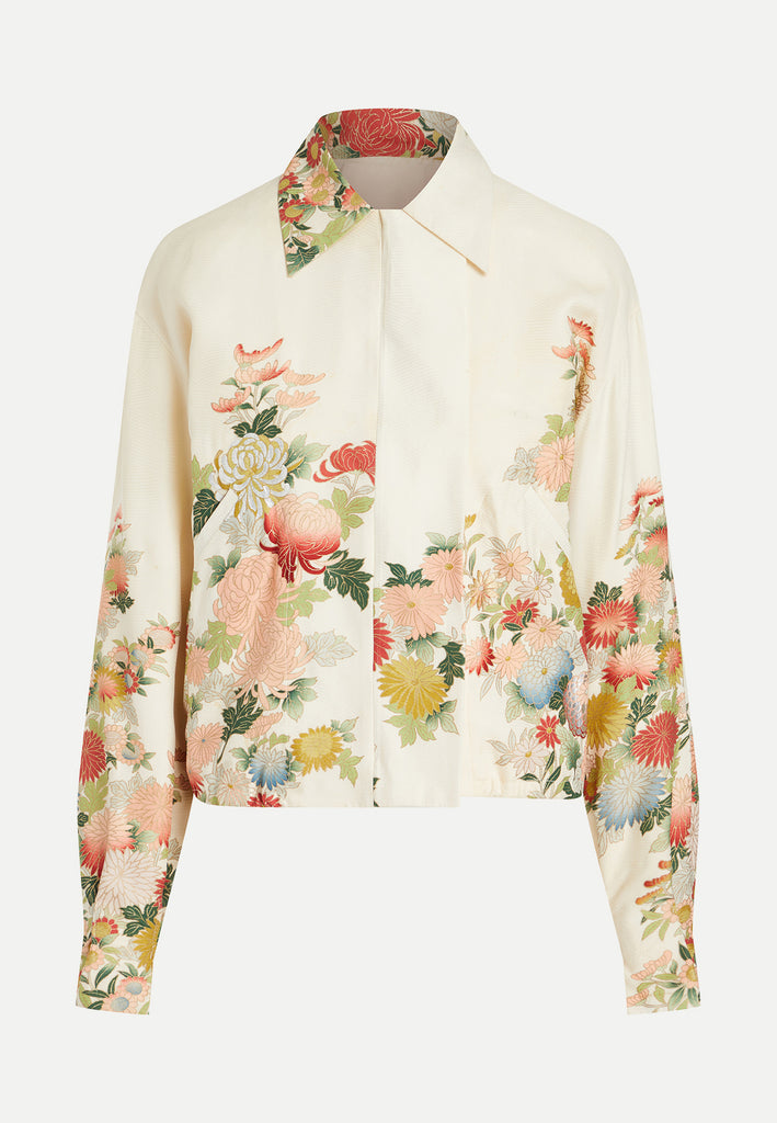 womenswear multi-coloured floral kimono jacket front