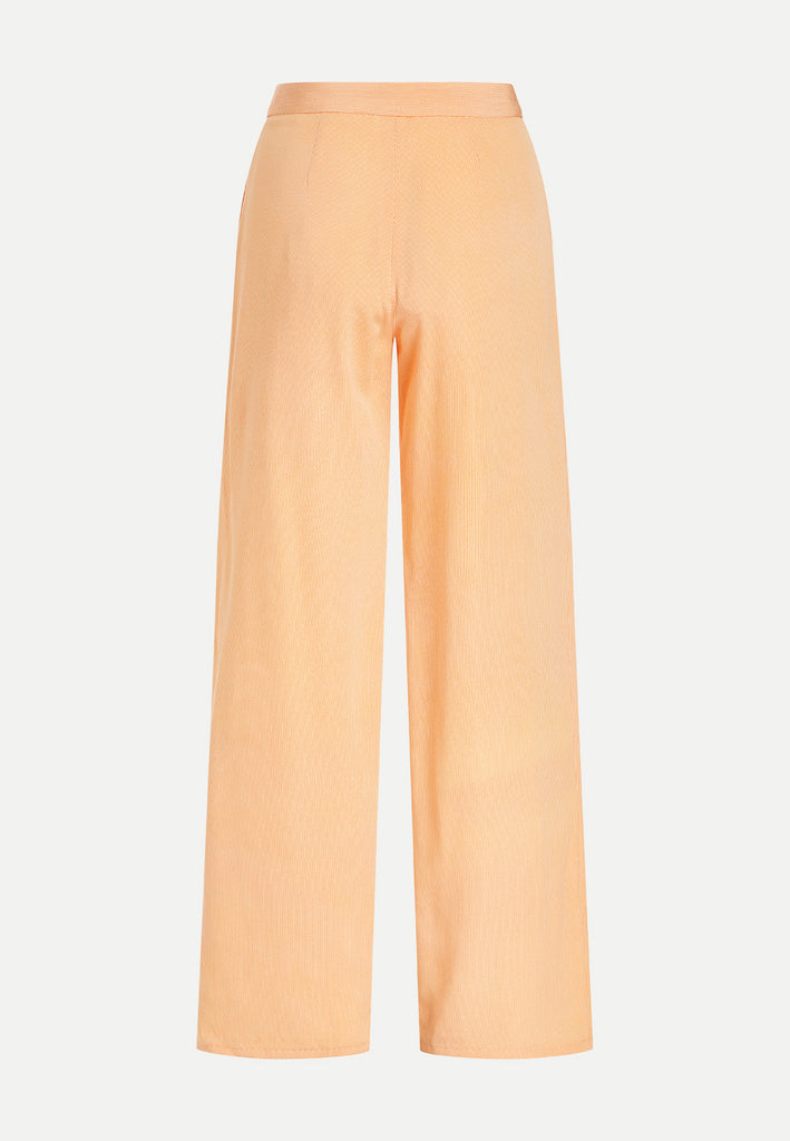 womenswear light orange straight cut kimono trousers back