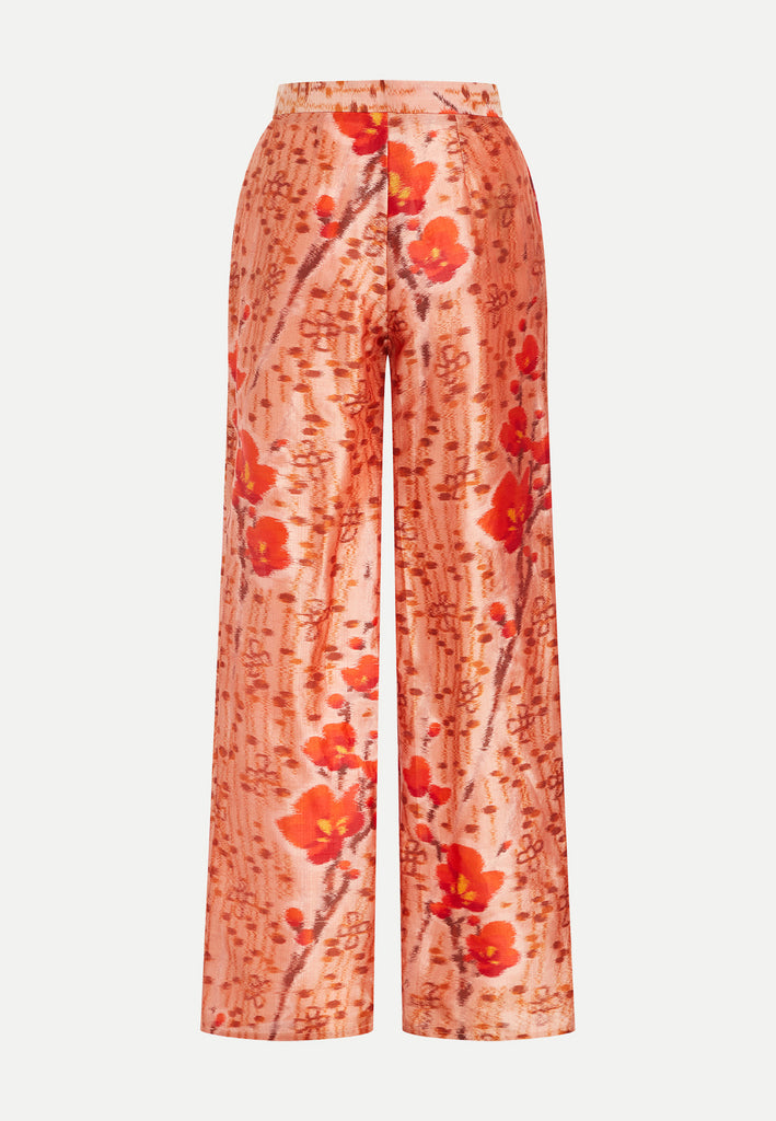 womenswear red all-over floral pattern straight cut trousers back