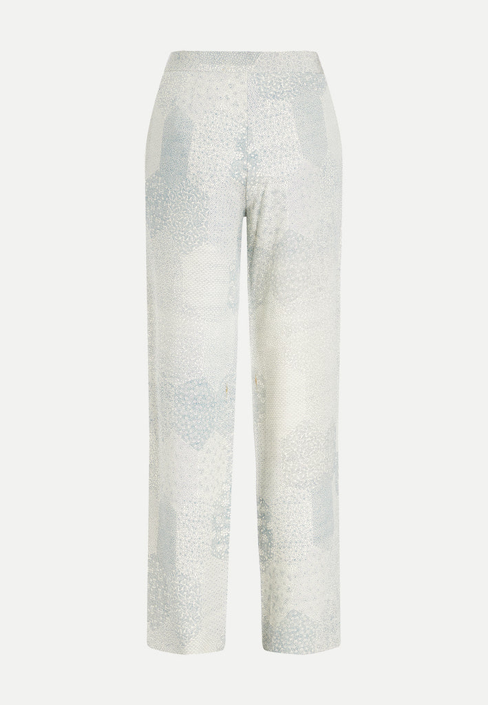 womenswear light blue straight cut tailored trousers back