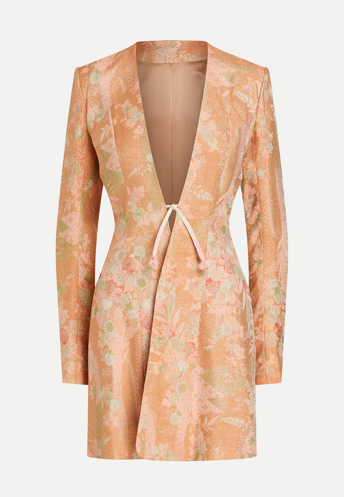 womenswear rose gold tailored blazer jacket front