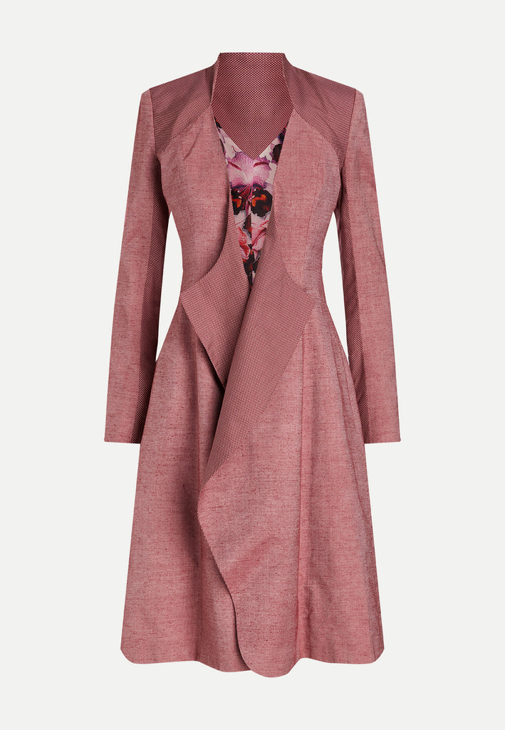 womenswear pink knee-length blazer coat front