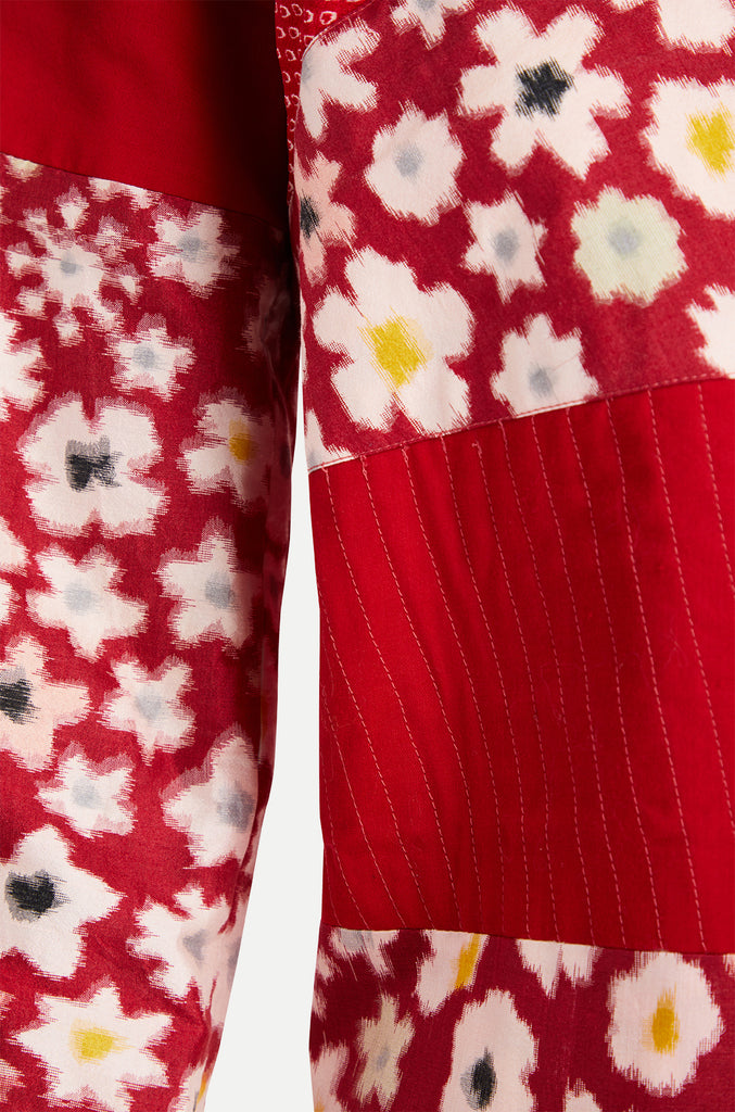 red white boro patchwork kimono jacket detail
