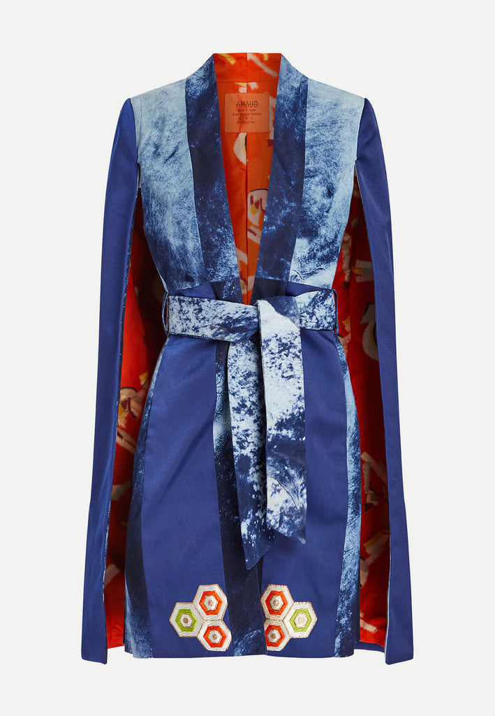 womenswear indigo orange cape blazer front