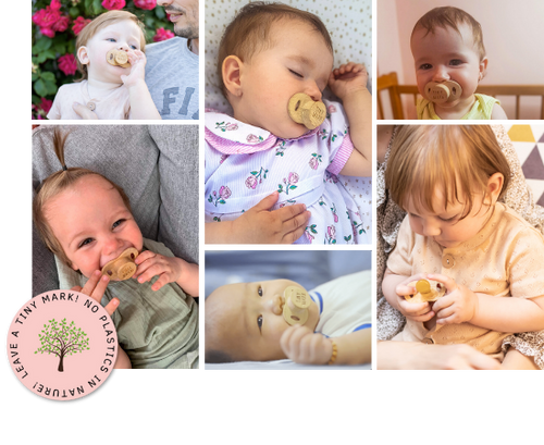 Six pictures of babies using a bamboo pacifier from TinyMark
