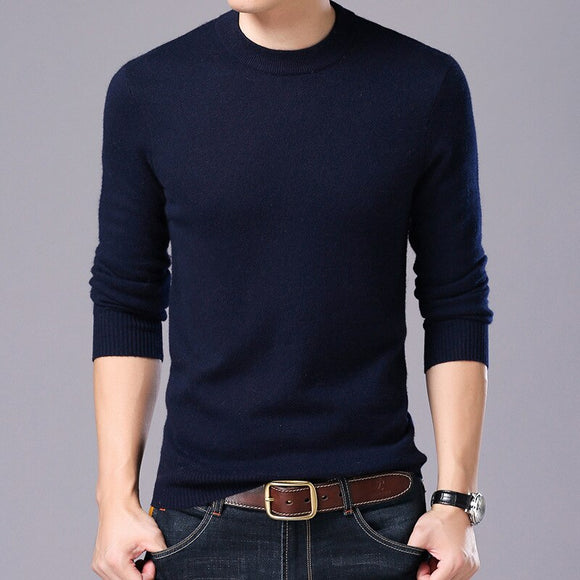 MRMT 2018 brand new men's sweater bottoming shirt autumn and winter men's sweater thick casual solid sweater