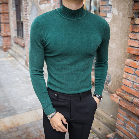 MRMT 2020 Brand Men's Sweater Pure Color Knitting Pullover for Male Long Sleeves Semi-high Neck Casual In The Collar Sweater