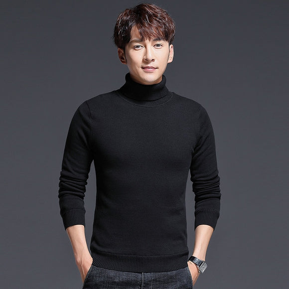 MRMT 2020 Brand New Autumn Men's Sweaters Long-sleeved Pure Color High-necked for Male Sweater